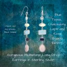 Gorgeous Multi stone Long Drop Earrings in Sterling Silver