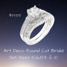 Art Deco Round Cut Bridal Set 2 Ring Set Best Prices Online! Compare