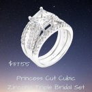 Princess Cut Cubic Zirconia Triple Bridal Set2 Ring Set Best Prices Online! Compare