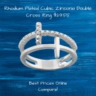 Cubic Zirconia Rhodium Plated Double Cross Ring
