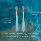 14 Karat Gold Plated Chalcedony and Glass Post Earrings in Sterling Silver
