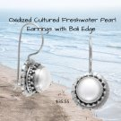 Bali Oxidized Cultured Freshwater Pearl Earrings with Bali Edge Sterling Silver