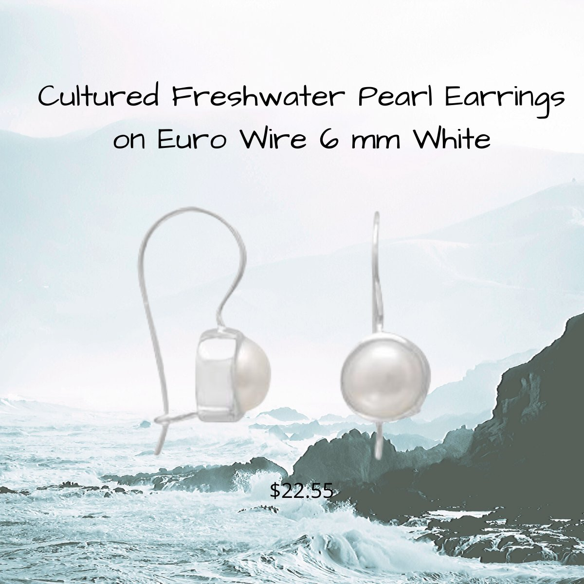 White Cultured Freshwater Pearl Earrings on Euro Wire in Sterling Silver