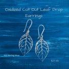 Oxidized Cut Out Leaf Drop Earrings Sterling Silver