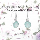 Faceted Sea Green Chalcedony Earrings with X Design