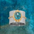 Two Tone Rope Edge Turquoise Ring Sterling Silver Best Prices online!  COMPARE
