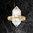 14 Karat Gold Plated Spike Pencil Cut Clear Quartz Ring Sterling Silver Best Prices online!
