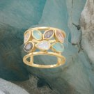 14 Karat Gold Plated Multi Stone Ring in Sterling Silver