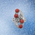 Floral Design Dyed Red Coral Ring Sterling Silver Best Prices online!