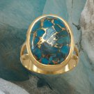 14 Karat Gold Plated Stabilized Turquoise Ring in Sterling Silver Best Prices online!
