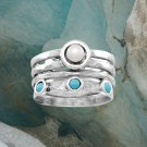 Oxidized Cultured Freshwater Pearl and Turquoise Sterling Silver Ring Best Prices online!  COMPARE