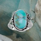 Oval Reconstituted Turquoise Floral Design Ring Best Prices online!  COMPARE