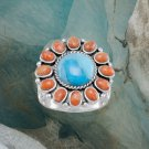 Reconstituted Turquoise and Coral Sunburst Ring Best Prices online!  COMPARE