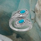 Sterling Silver Rhodium Plated Turquoise Wrap Ring size 5-9