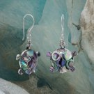 Bali Paua Shell Turtle French Wire Earrings Sterling Silver