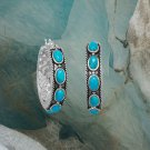 Sterling Silver Ornate Oxidized Turquoise Hoop Earring