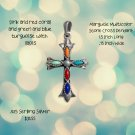 Sterling Silver Marquise Multi color Sterling Silver Stone Cross Pendant