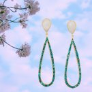 Gold Plated Rainbow Moonstone and Turquoise Chip Post Earring in Sterling Silver Best Prices