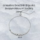 .925 Sterling Silver Rhodium Plated Graduated Bead Bolo Bracelet Sterling Silver
