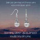 Bali Cap Earrings 8 mm French Wire in Sterling Silver