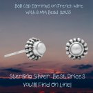 Cultured Freshwater Pearl and Bali Edge Earrings Studs in Sterling Silver