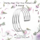 Polished Cuff Bracelet Four Row 925 Sterling Silver