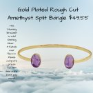 Rough Cut Amethyst Cuff Bangle Bracelet 14 Carat Gold Plated -- Feel the Powers of Amethyst
