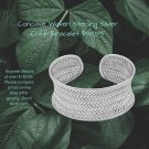 Sterling Silver .925 27.5 mm Concave Cuff Bracelet With Weave Design.  .925 Sterling Silver