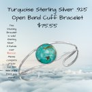 Turquoise Sterling Silver .925 Open Band Cuff Bracelet