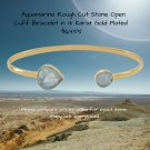 14 Karat Gold Plated Aquamarine Open Cuff Bracelet Sterling Silver Please compare prices online!