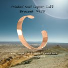 Polished Solid Copper Cuff Bracelet 12 mm -- For Joint Pain