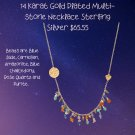 """16.5""""+2 14 Karat Gold Plated Multi-stone Necklace Stainless Steel"""