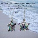 Bali Paua Shell Turtle French Wire Earrings Sterling Silver
