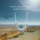 """Turquoise Crescent Necklace 18 """" Sterling Silver. Compare prices online.  Don't pay inflated prices!"""