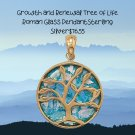 Sterling Silver Growth and Renewal Tree of Life Roman Glass Pendant