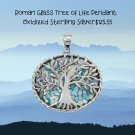 Sterling Silver Oxidized Roman Glass Tree of Life Pendant