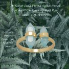 Spike Pencil Cut Aqua Chalcedony Split Ring Sterling Silver Best Prices online!