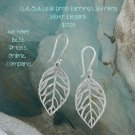 Oxidized Cut Out Leaf Drop Earrings Sterling Silver