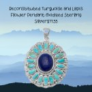Sterling Silver and Lapis and Oxidized Reconstituted Turquoise Flower Pendant