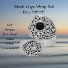 Sterling Silver Oxidized Black Onyx Wrap Ring -- Bali Style
