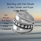 Bali Ring with Flat Beads in the Center and Rope Edge in Sterling Silver