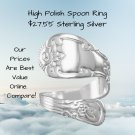 High Polish Spoon Ring Sterling Silver Wrap -- Bali Style