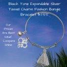Black Tone Expandable Silver Tassel Charm Fashion Bangle Bracelet