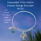 Tree Charm Bracelet Gold Tone Expandable