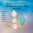 Rainbow Moonstone and Synthetic Turnquoise Wrap Ring in Sterling Silver Best Prices online!  COMPARE