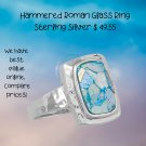 Sterling Silver Hammered Roman Glass Ring