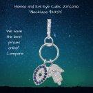 Hamsa and Evil Eye CZ Necklace Sterling Silver
