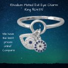 Rhodium Plated Cubic Zirconia Evil Eye Charm Ring in Sterling Silver