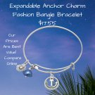 Expandable Anchor Charm Fashion Bangle Bracelet Sterling Silver