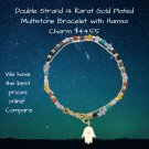 Double Strand 14 Karat Gold Plated Multistone Bracelet with Hamsa Charm Sterling Silver Engraved
